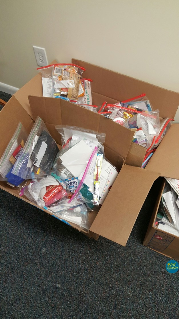 donations packed by volunteers
