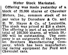 Chevrolet Brothers / Period Articles / Business Matters