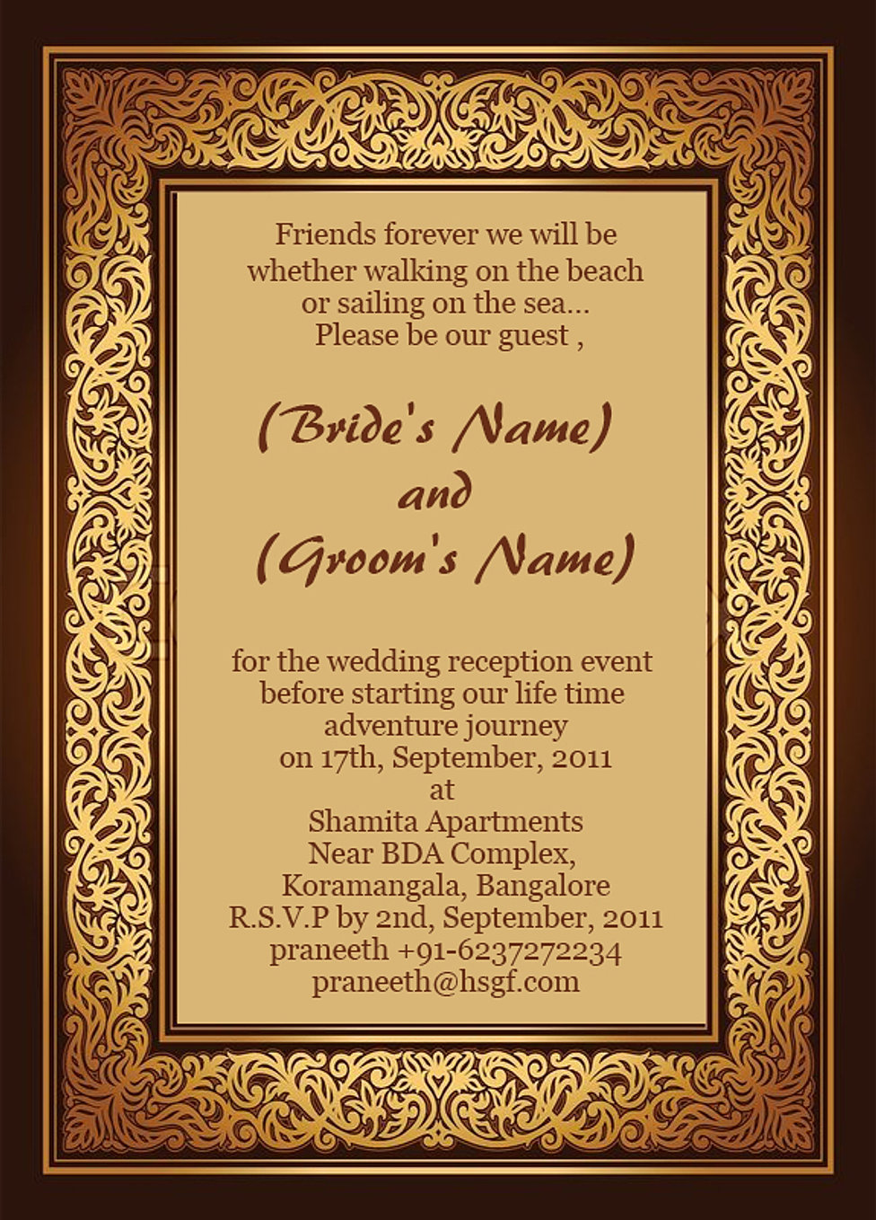 Free Wedding Reception Ceremony Invitation Wordings India