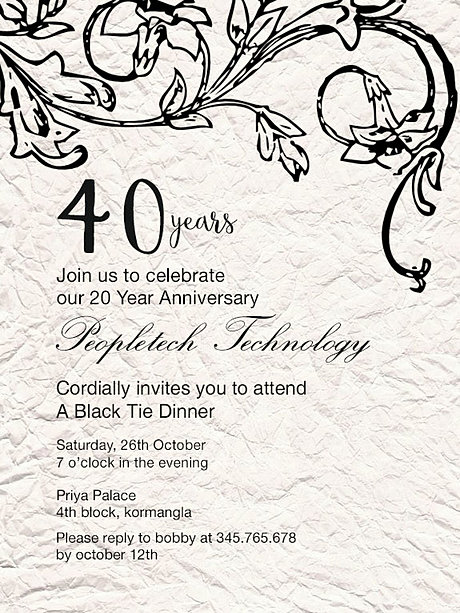 Free Company Anniversary Invitation Wordings India