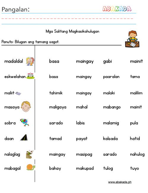 small resolution of Worksheet Kayarian Ng Mga Salita   Printable Worksheets and Activities for  Teachers