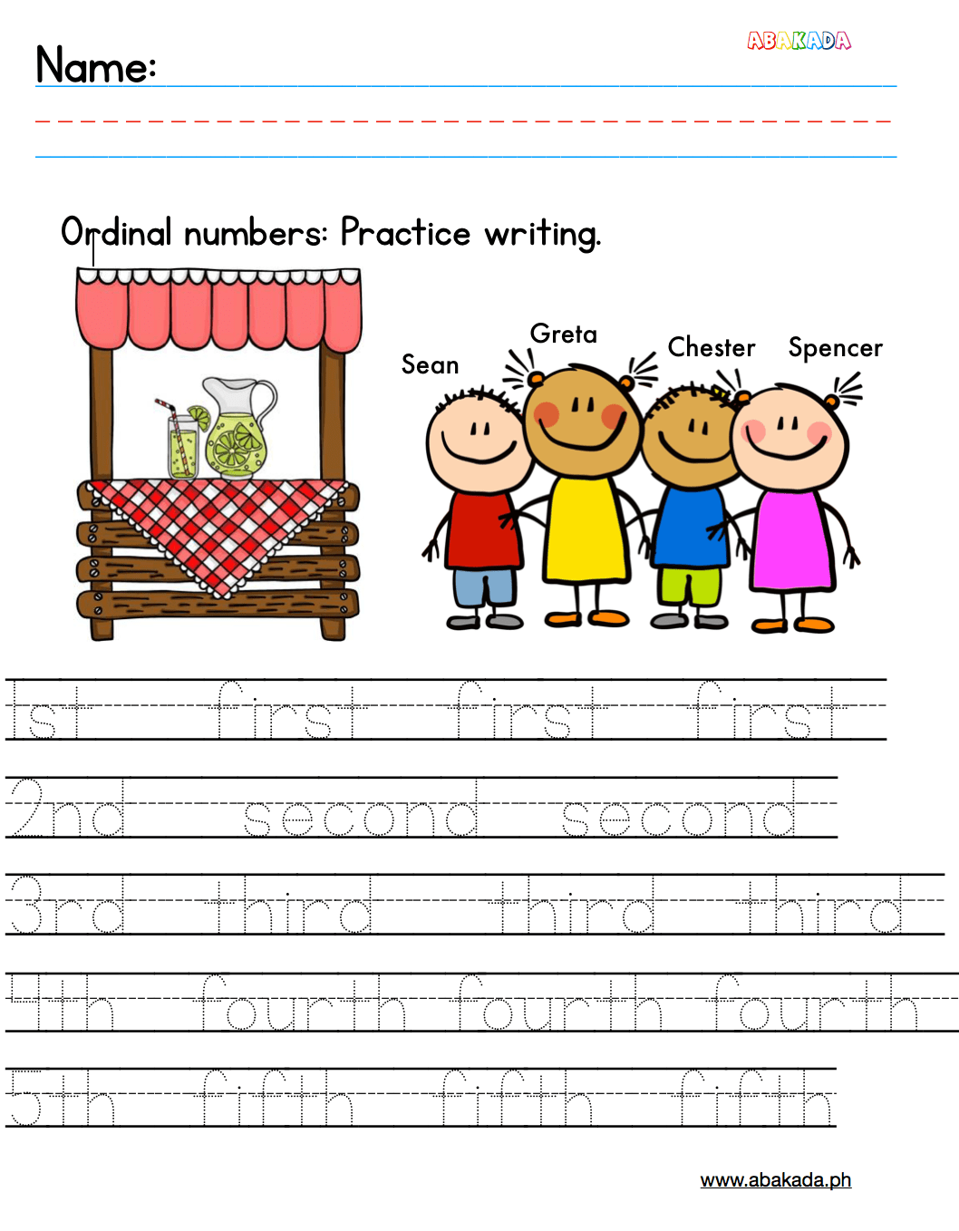 Free Ordinal Numbers Worksheet