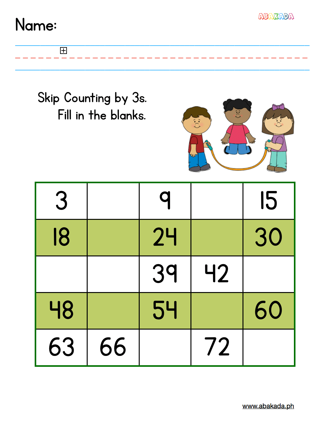 Free Skip Counting By 3s Worksheet