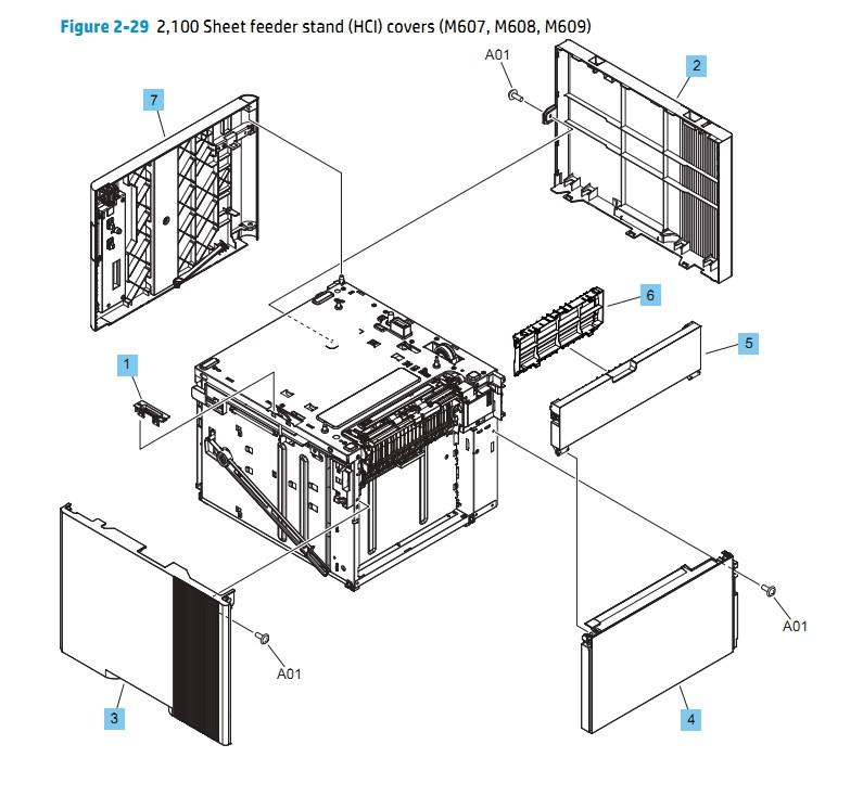 Part Diagrams- M607 M608 M609 M631 M632 M633 HP Laser Printers