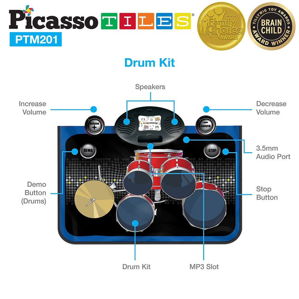 hight resolution of picassotiles ptm201 portable 2 in 1 drum piano combo educational musical play mat w 8 musical instruments 5pcs drum set 10 demos 24 key keyboard