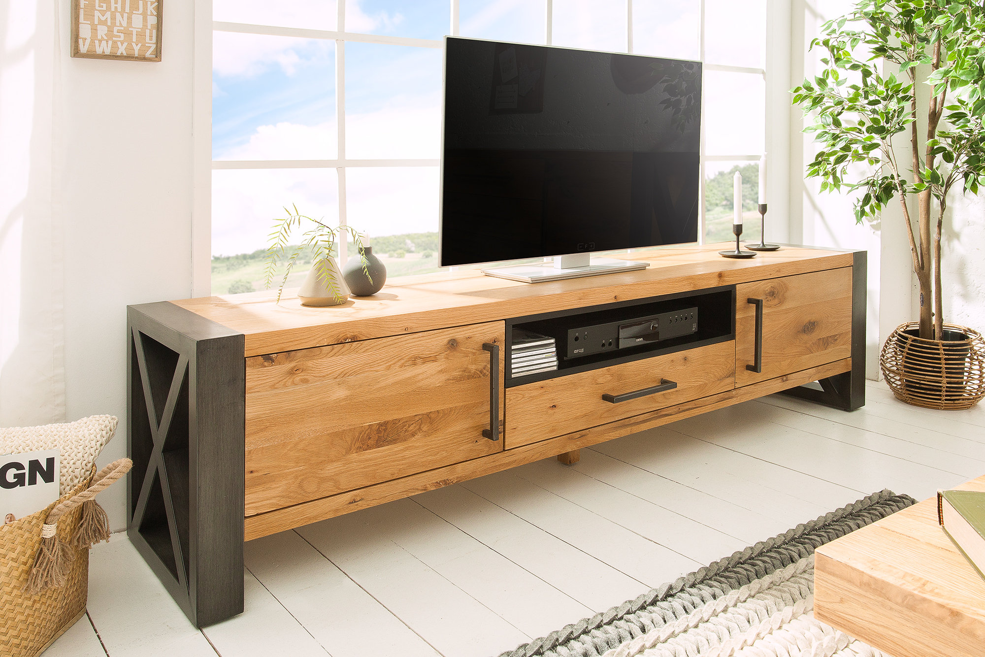 Tv Board Industrial Thor Solid Tv Board 200cm Wild Oak Wood Low Board Industrial | Sitheim Europe