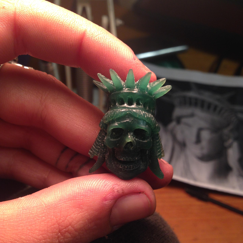wax carving, handmade liberty skull pendant The Wildness Jewellery