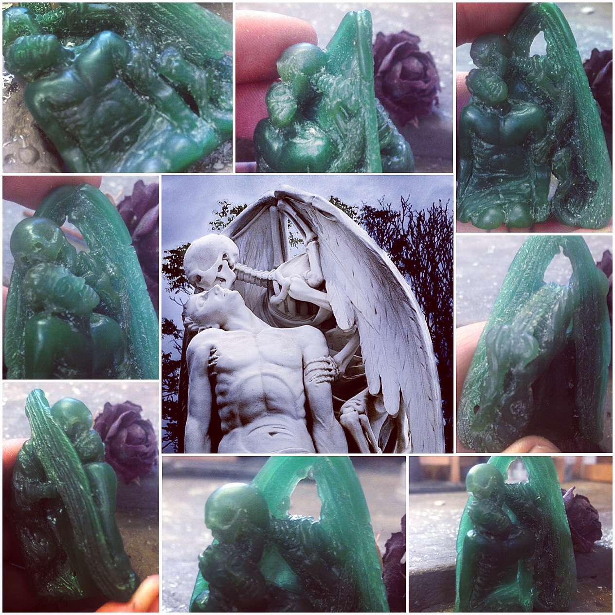 The Kiss of Death, wax carving handmade jewellery The Wildness Jewellery