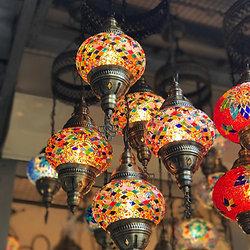 Turkish Mosaic Chandelier 5 Lamps Multi Color