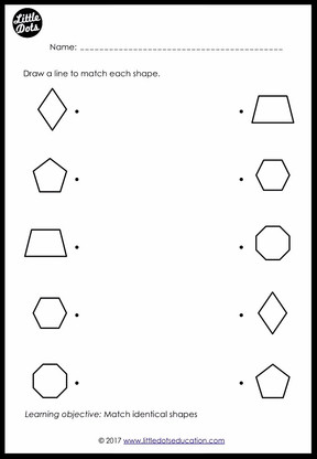 Preschool Shapes Matching Worksheets and Activities