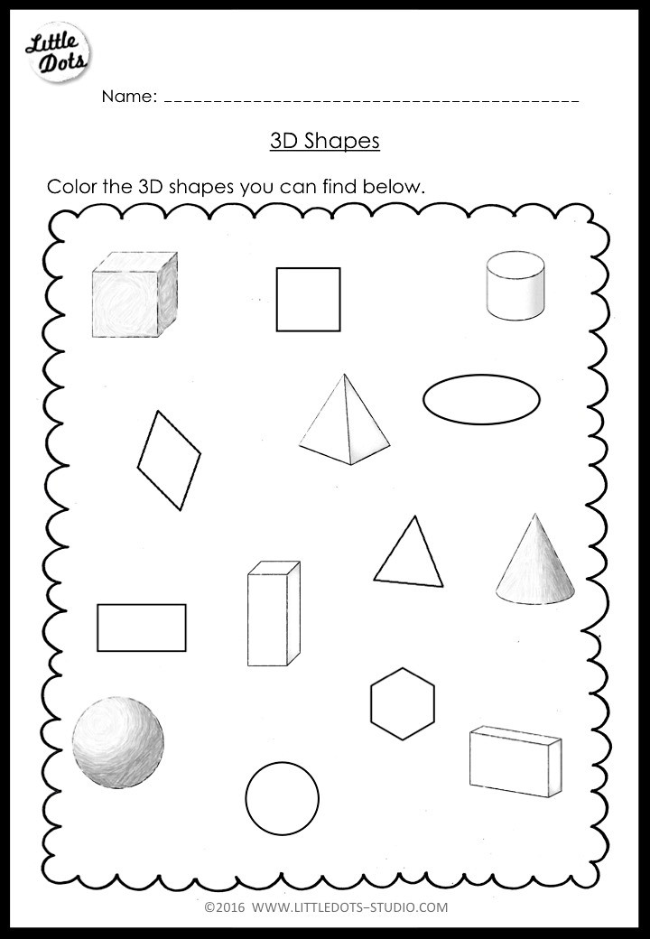 Kindergarten Math 3D Shapes Worksheets and Activities