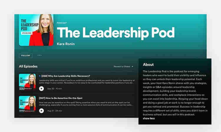 The leadership pod - podcast description example