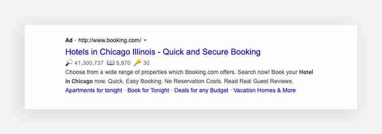 booking.com's Google search ad