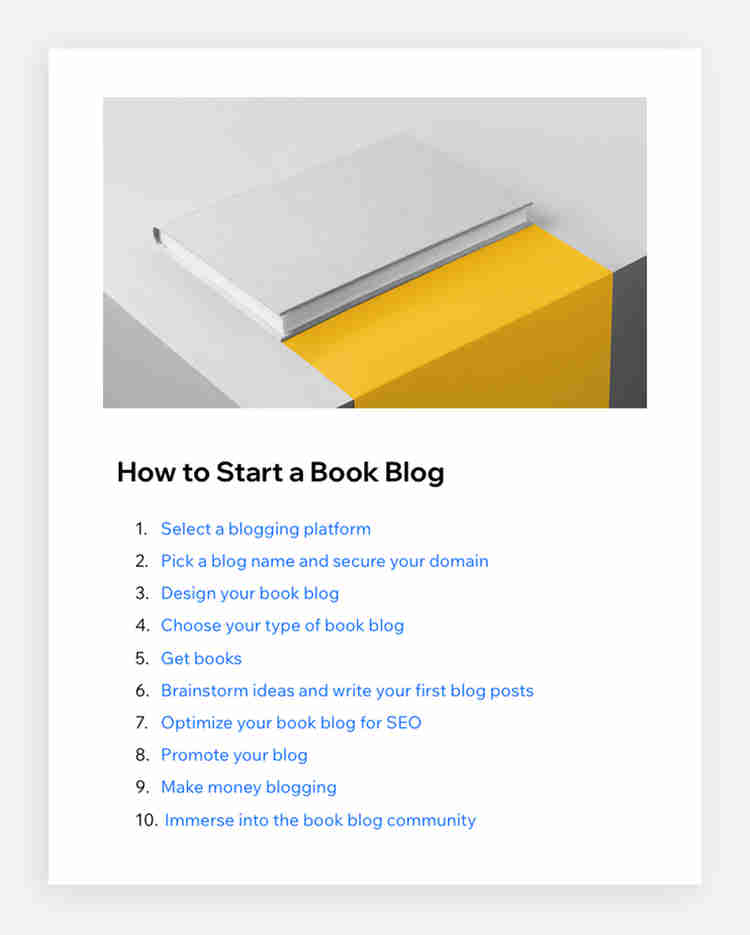 table of contents shown of the blog post how to start a book blog