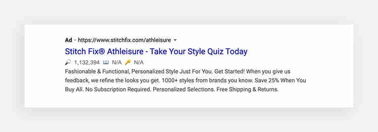 Google search ad call-to-action examples: Stitch Fix