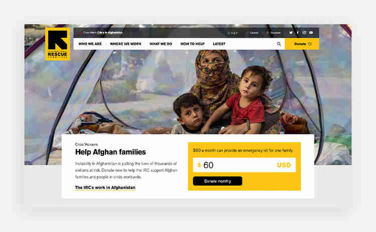"""International Rescue Committee """"donate"""" cta example"""