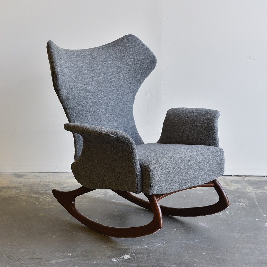 Banana Rocker Chair Vintage Mid Century Modern Wingback Rocking Chair