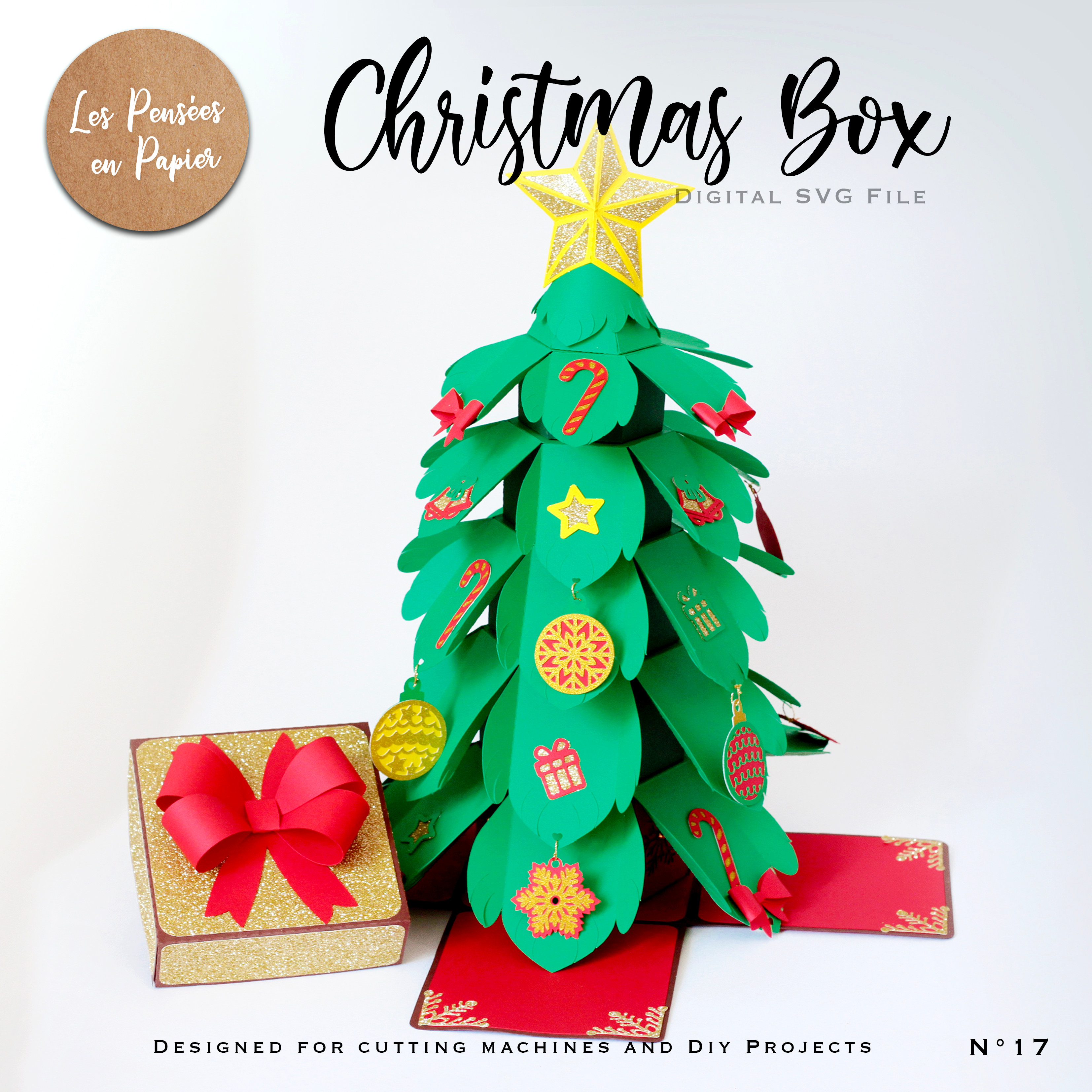 You can use a variety of paper and cardstock to make paper christmas ornaments. Christmas Box Svg Vertical Tree Explosion Lespenseesenpapier