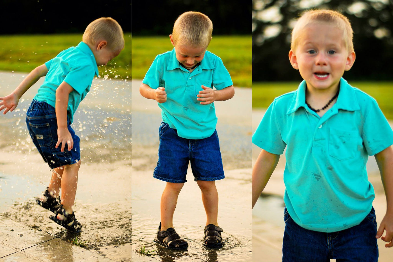 Toddler Portrait Photographer playing in the rain puddles