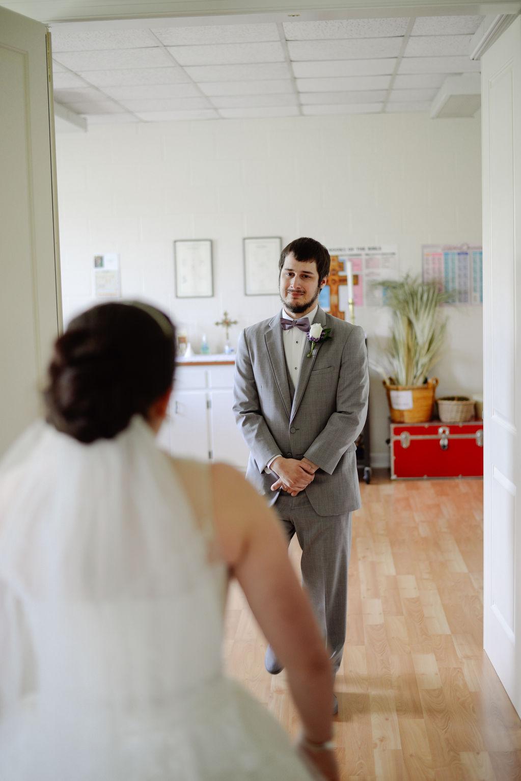 Hampton Roads Virginia Beach Spring Wedding Photographers Grooms Tearful Reveal of Bride