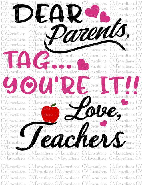 Download Dear Parents Tag You're It Digital File SVG PNG DXF