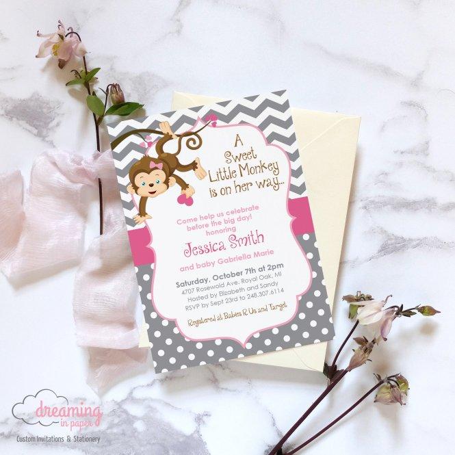Little Monkey Baby Shower Invitation Dreaminginpaper