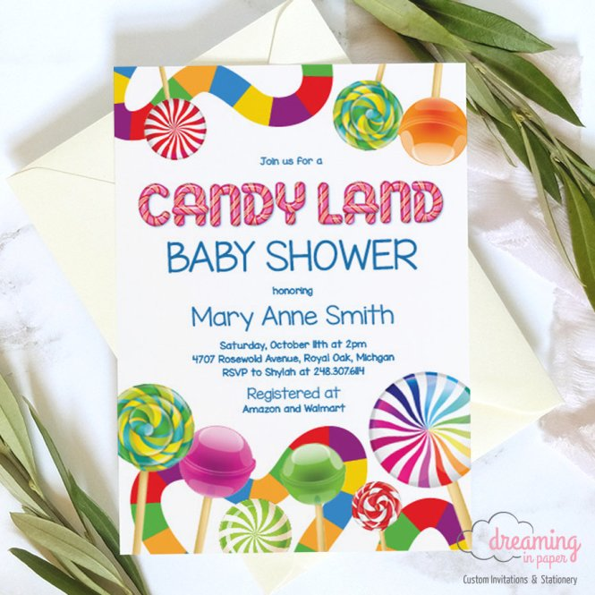 Candy Land Lollipop Baby Shower Invitations Dreaminginpaper
