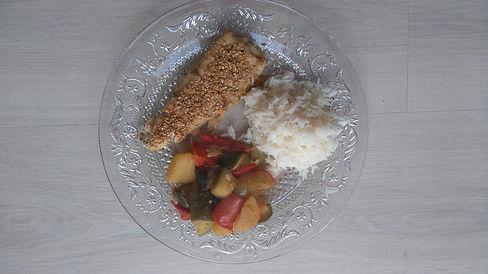 truite sésame riz blanc légumes ratatouille huile citron