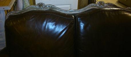 canapé blog maman déco bricolage récup récupération rénover patiner cérusé cuir vintage marron bois gris