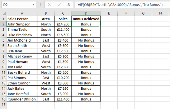 How to Create Excel OR Formulas : Excel Tutorial with Examples