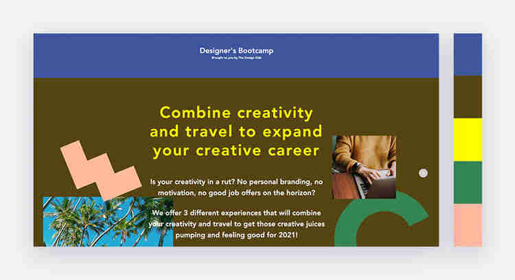 Bold website color scheme by Designers Boot Camp