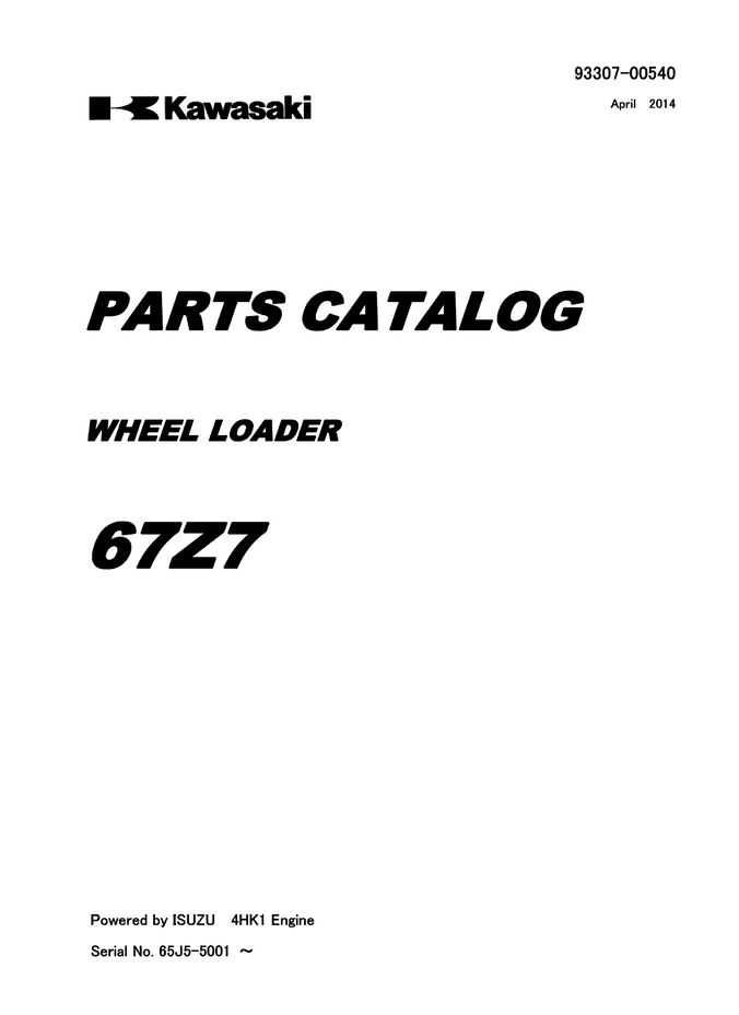 Kawasaki KCM 67Z7 Wheel Loader Parts Catalog