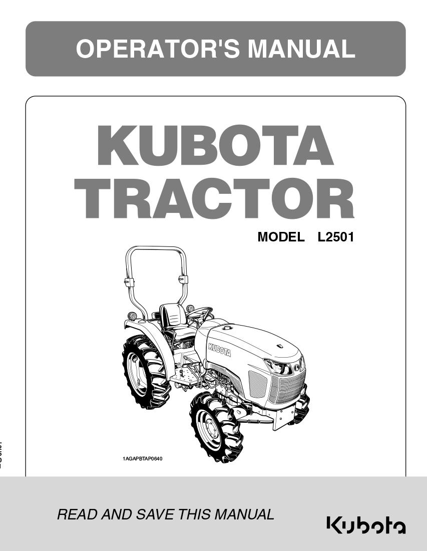 Kubota L2501 Operator's Manual