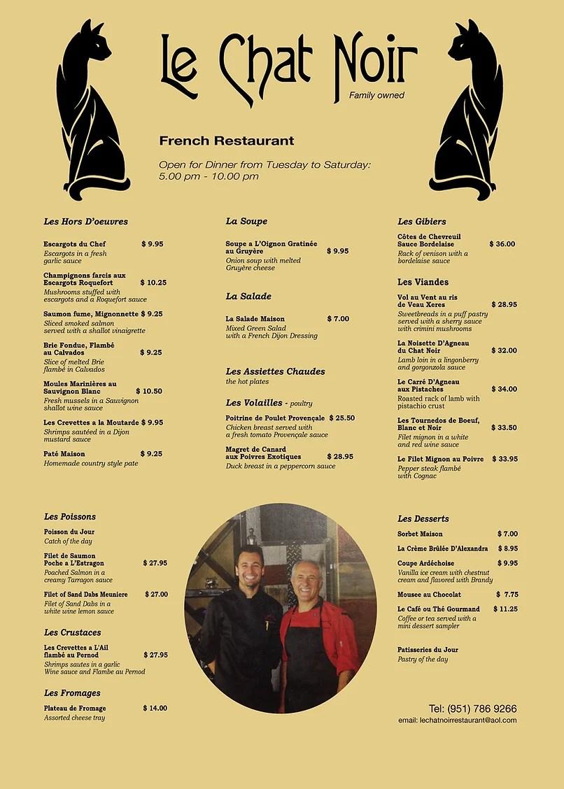 Le Chat Noir French Restaurant Menu