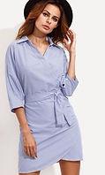 Blue Vertical Striped Wrap Shirt Dre