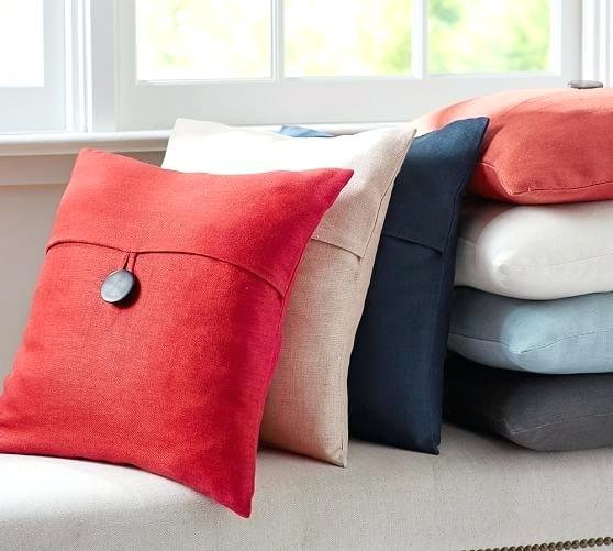 pottery barn linen red pillow button 18 chickadeevintage