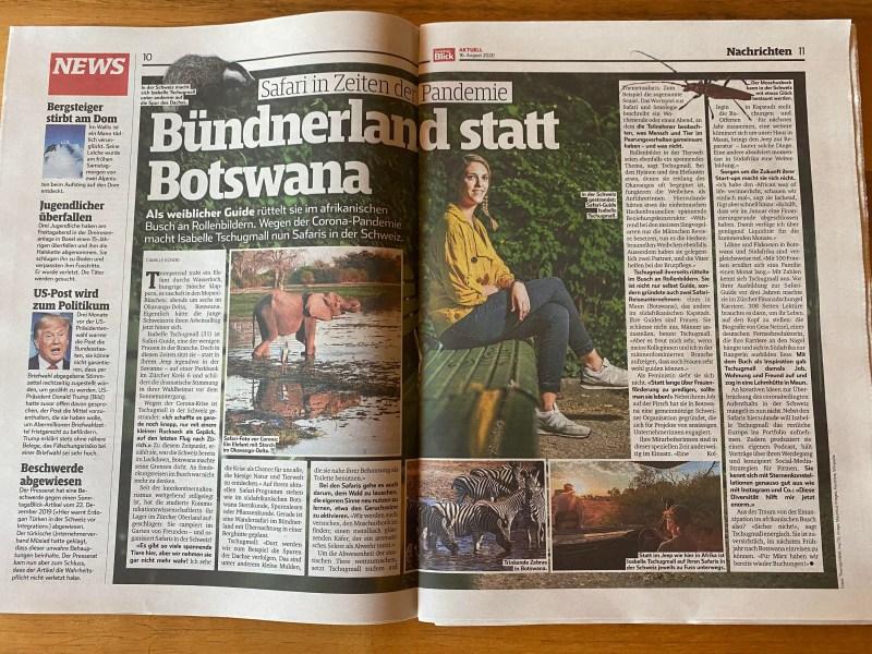 """Portrait im SonntagsBlick: """"Sie holt Safaris in die Schweiz"""""""