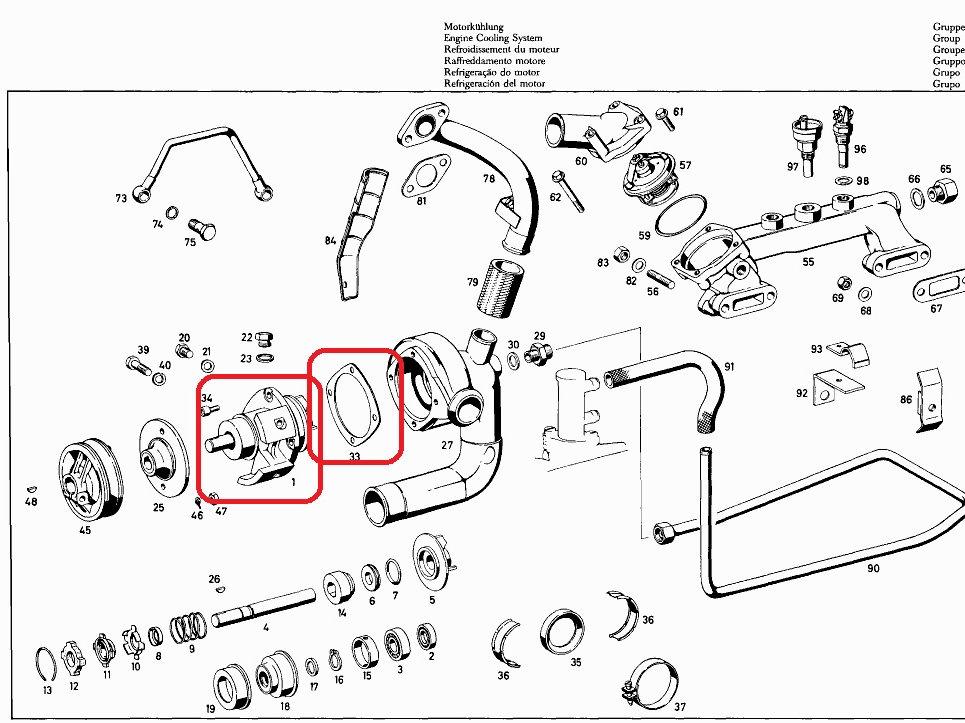 Mercedes W112, W109, M189 Engine Water Pump 189 200 07 20
