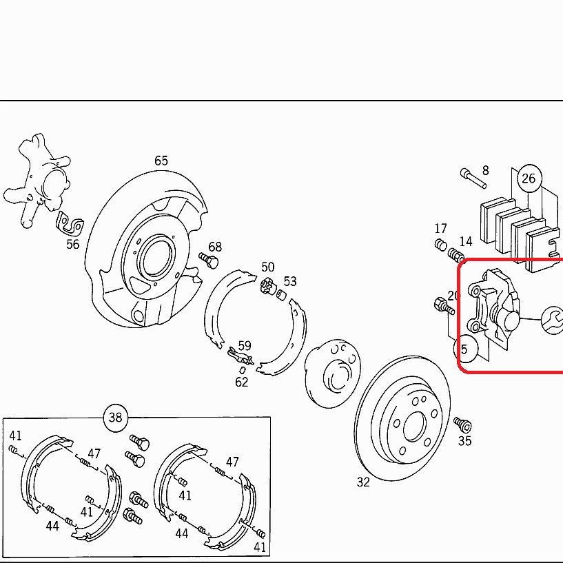 Mercedes W124, W201, W202 Rr Brake Clpr Kit- 000 420 01 44
