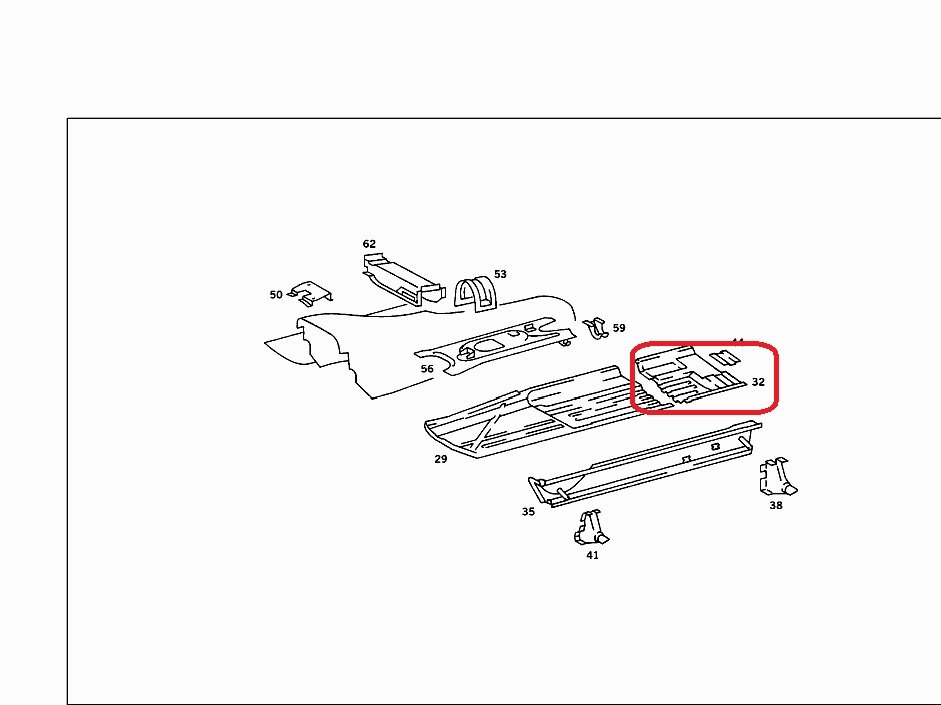 Mercedes W107 SLC Rt Hand Rear Floor Panel 107 616 10 67