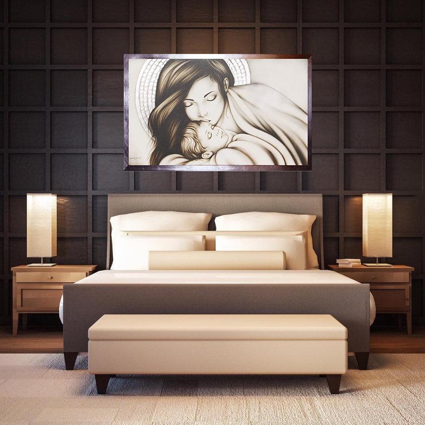 Design211 quadro capezzale su tela moderno famiglia non sacro. Capezzale Madonna In Madreperla Artandfashion By Sportelli