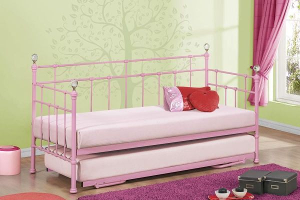 Kids Daybed With Trundle Girls And Boys Pink Cream