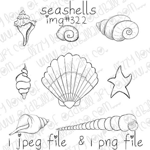 digital stamp whimsical seashell