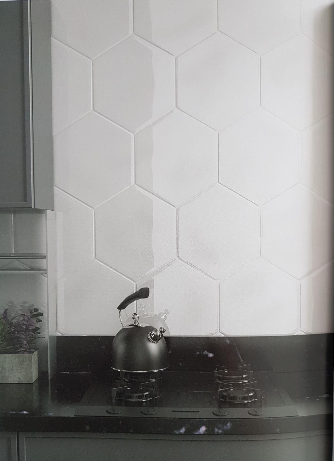 hexagon gloss wavy wall tile