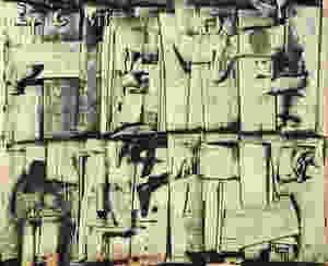 Ország Lili: Kövek és betűk, 1966. Olaj, papír, 27,5 x 34 cm