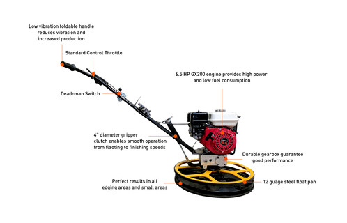 S60 6.5 HP GX200 24 '' Commercial Edger Power Trowel