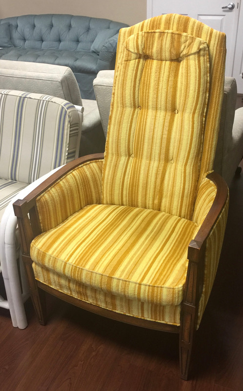 yellow upholstered accent chair tom dixon wingback gold striped