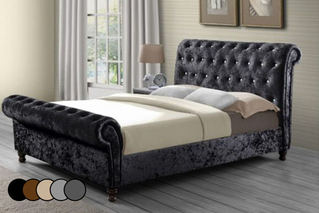Crushed Velvet Chesterfield Bed Frame 5 Colours Shop