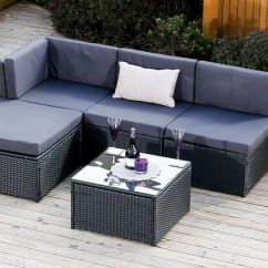 6pc Milan Modular Rattan Corner Sofa Set Aspen Leather Vonhaus Silverline 4pc 5 Piece Faro