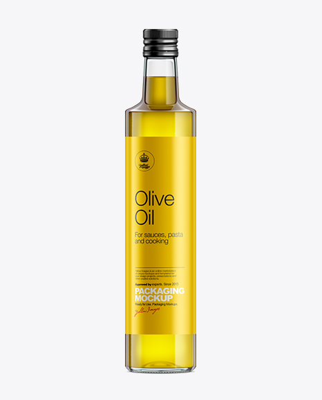 Download 500ml Clear Glass Olive Oil Bottle with Screw Cap Mockup Object Mockups